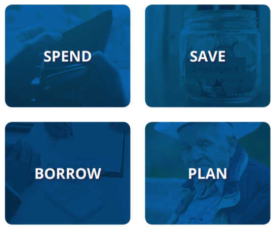 spend, save, borrow, and plan